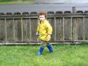 Miles playing in front yard